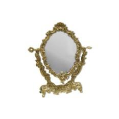 Золотистое бронзовое настольное зеркало Ракушка