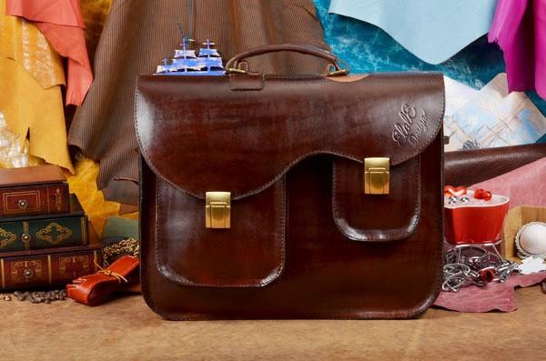 Кожаный портфель ручной работы Гитара