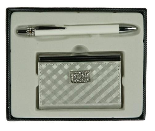 Женский белый подарочный набор: ручка, визитница