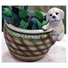 Кашпо «Щенок у круглой корзины»