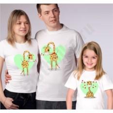 Футболки для семьи на троих Жирафики