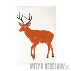 Обложка для паспорта Красный олень на белом