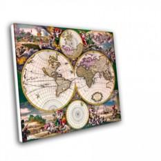 Холст с изображением старых карт