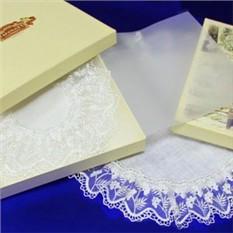 Набор льняных салфеток с кружевом Филигранные узоры
