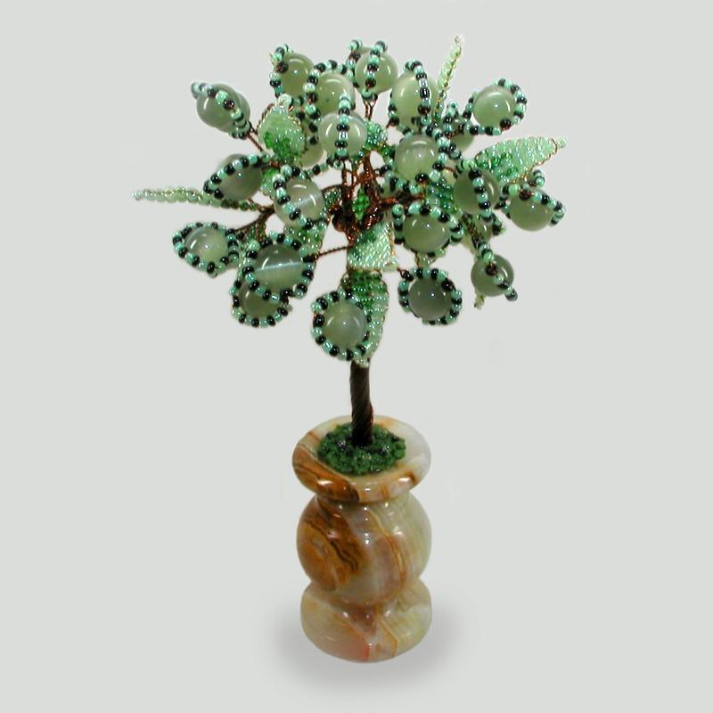 Дерево счастья из кошачьего глаза в вазочке из оникса