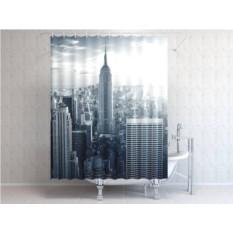 Штора для ванной Чёрно-белый Нью-Йорк
