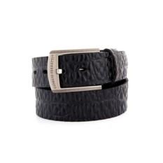 Черный мужской кожаный ремень тип 39-6