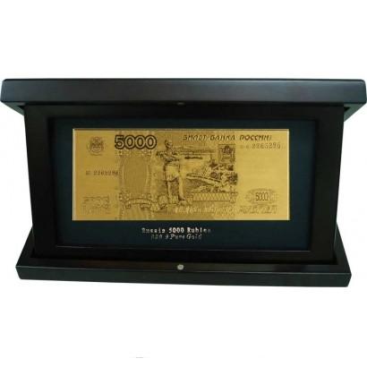 Банкнота 5000 рублей в деревянной шкатулке