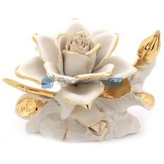 Роза из фарфора Империал с позолотой