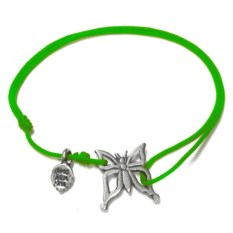 Серебряный браслет на нити Бабочка малая