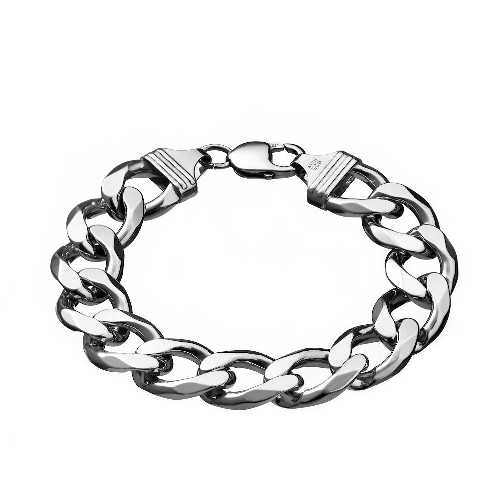 Массивный серебряный мужской браслет плетения Панцирь