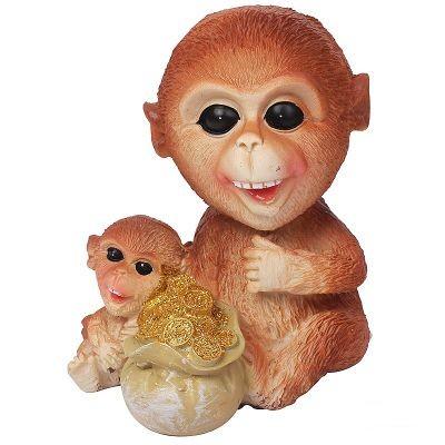 Декоративная статуэтка Пара обезьянок с мешком монет