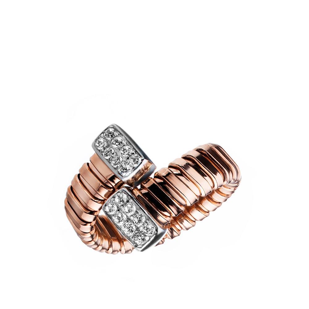 Кольцо из серебра с красной позолотой и фианитами