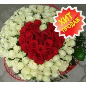 Букет Красное сердце, 101 роза