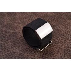 Браслет Cojet (черный, широкий с узором; нат. кожа)