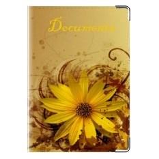 Кожаная обложка на права Цветок желтый