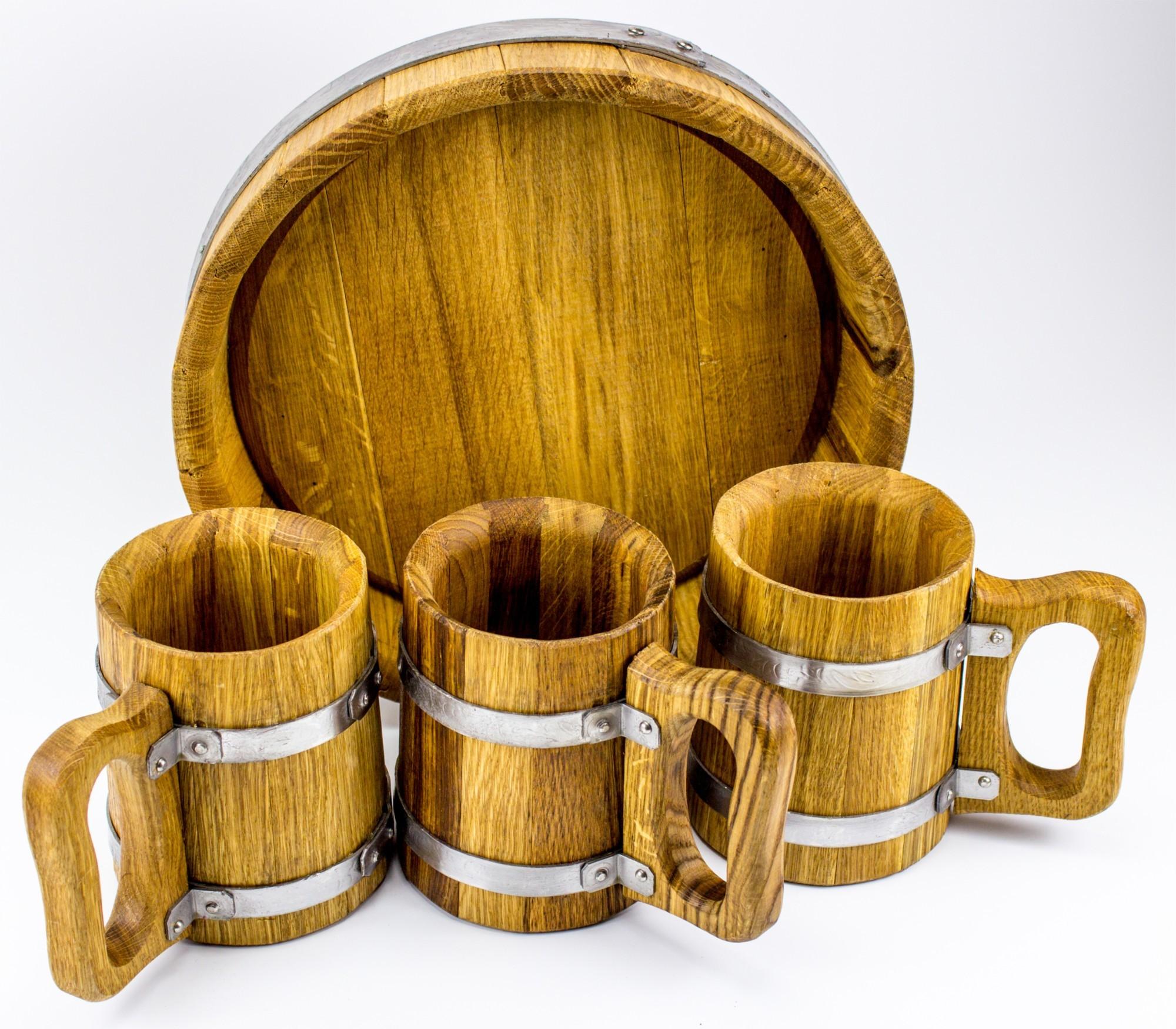 Пивной набор из 3 дубовых кружки
