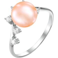 Женское серебряное кольцо с розовым жемчугом De Fleur