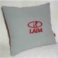 Серая подушка с бордовой вышивкой Lada