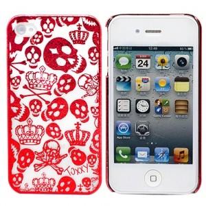Чехол для iPhone 4/4S Funny Skulls (красный)