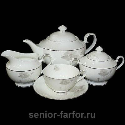 Чайный сервиз Glance (Маки) на 6 персон (15 предметов)