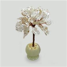 Дерево счастья из горного хрусталя в вазе из оникса