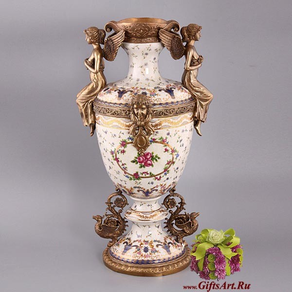 Напольная ваза Феи из фарфора и бронзы 54 см
