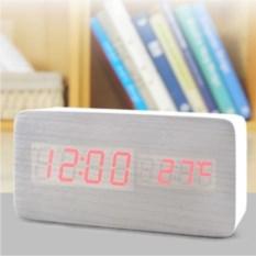 Деревянные серые часы-будильник с термометром