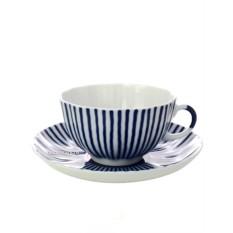 Чайная чашка с блюдцем, форма Тюльпан, рисунок Французик