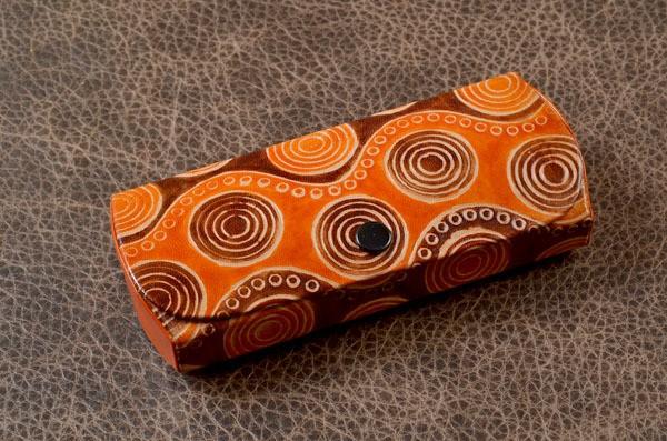 Футляр для очков из кожи Socotra Узор 2, оранжевый