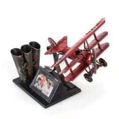 Фоторамка с подставкой для ручек Самолет (цвет — красный)