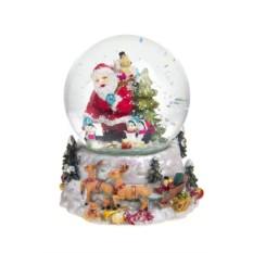 Новогодний музыкальный сувенир Шар - Дед Мороз с подарками