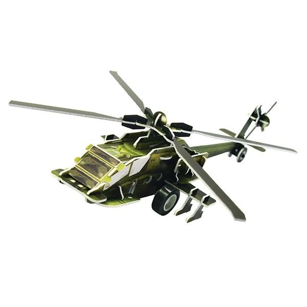 Инерционный 3D-пазл с мотором IQ Вертолет АН-64