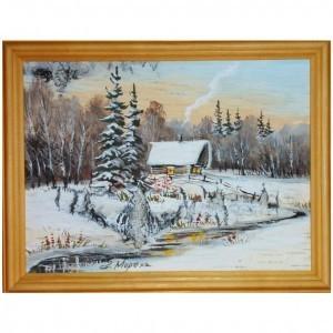 Объёмная картина на бересте Зимний домик