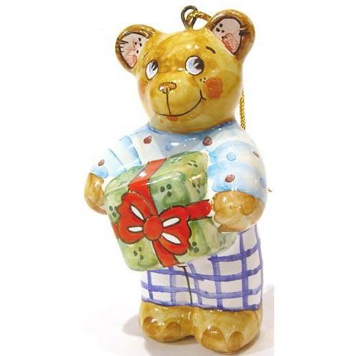 Елочная игрушка Мишка с подарком