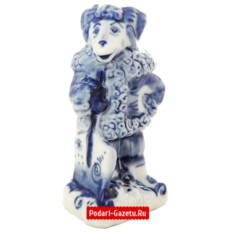 Скульптура с гжельской росписью Барашек с лопатой