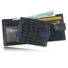 Мужской кошелек из кожи крокодила с хлястиком (чёрный)
