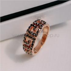 Позолоченное кольцо с черными кристаллами Греческие мотивы