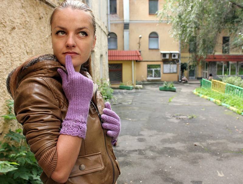 Разноцветные шерстяные вязаные перчатки