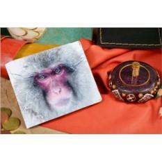 Бежевое кожаное портмоне Взгляд снежной обезьяны