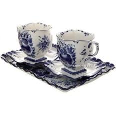 Чайный набор на 2 персоны с росписью гжель Бодрое утро
