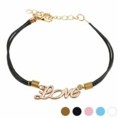 Черный браслет на шнурке с подвеской Love