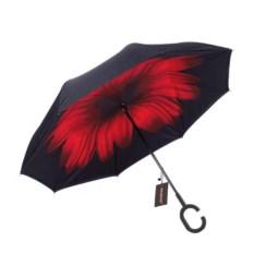 Красный обратный ветрозащитный зонт Up-brella Цветок