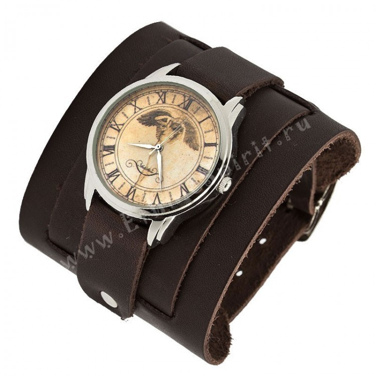 Наручные часы Ангел на кожаном коричневом ремешке