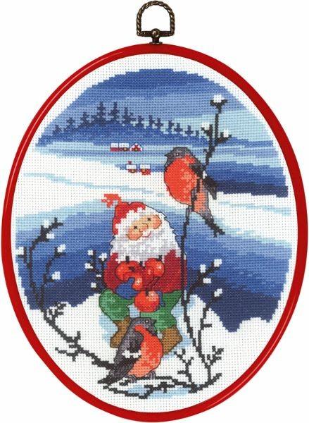 Набор для вышивания Зимний пейзаж с Сантой и снегирями