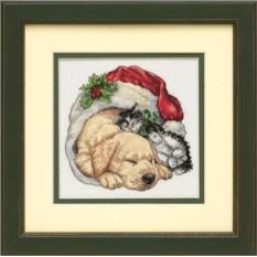 Набор для вышивания Домашние питомцы рождественским утром