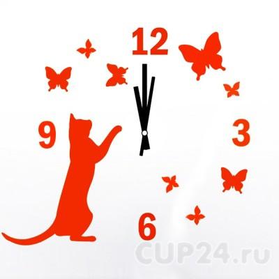 Часы Кошка с бабочками