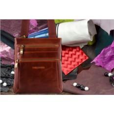 Коричневая кожаная сумка-планшет Dor.Flinger