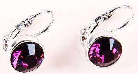 Серьги с кристаллом Swarovski Бриллиант фиолетовые