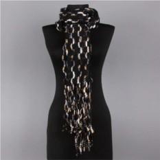 Черный женский шарф с белыми и золотыми вкраплениями